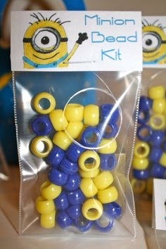 "10  ""Minion Bead Kits"" Despicable Me- Party Favor with FREE Customization of the Birthday Child's Name!"