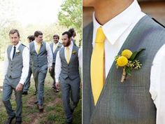 Men in grey vests and white shirts, with colored ties. Will be cooler in summer than coats... roll up sleeves?