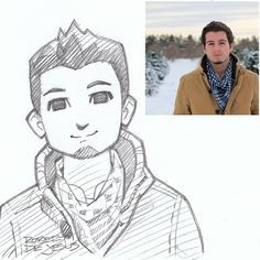 Animation Style Art Cartoon Sketches by Robert DeJesus ! Foto Cartoon, Photo To Cartoon, Cartoon Faces, Character Design Cartoon, Character Sketches, Character Drawing, Cartoon Sketches, Art Sketches, Persona Anime