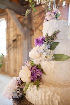 purple + blue floral cake   Leah Savage #wedding