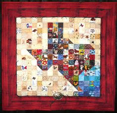 """""""Texas Charm"""" (30 x 30"""") by Pam Heine, map quilt made with Texas and western-themed fabrics and embellishments.  Photo by Sue Garman"""