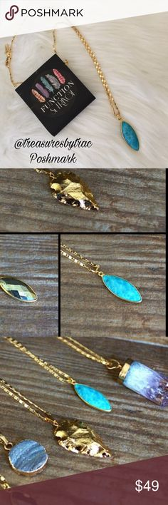 "18K GOLD 16"" TURQUOISE FUNCTION & FRINGE NECKLACE Beautiful 18K Gold plated 16"" Turquoise necklace From Function & Fringe...""Unique fine jewelry that appeals to all free spirits"". Each exquisite piece is carefully designed and handcrafted in California. We also carry several other one of a kind pieces in our closet from F&F. No trades and a smoke free home. Thanks for stopping by!  Function & Fringe Jewelry Necklaces"