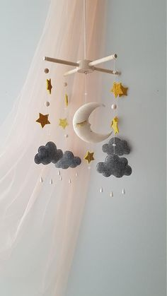 Moon mobile nursery starry sky baby mobile gift for baby unisex baby gift mobile for baby moon sky cloud mobile crib mobile nursery decor Sweet sleepy little moon and stars. Star Mobile, Cloud Mobile, Felt Mobile, Mobile Mobile, Baby Crib Mobile, Baby Cribs, Baby Decor, Nursery Decor, Nursery Ideas