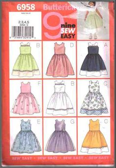 Butterick Sewing Pattern 6958 Girls' Dress Size: 2-3-4-5 Uncut