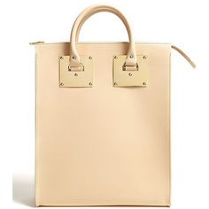 Sophie Hulme Large Leather Zip Top Tote With Gold Plated Har... - Polyvore