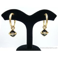 Retro Black Rhombus Charm C-hoop Earrings