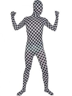 Black And White Chessboard Check Spandex Zentai Suit