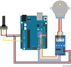Circuit Diagram for controlling Stepper Motor using Potentiometer