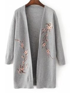 Sweaters & Cardigan For Women Teen Fashion Outfits, Mode Outfits, Fashion Dresses, Long Knit Cardigan, Sweater Cardigan, Embroidered Clothes, Cardigan Fashion, Cute Sweaters, Cute Casual Outfits