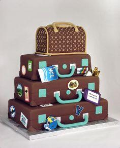 Travel theme wedding cake from Charm City Cakes West. Whoa!