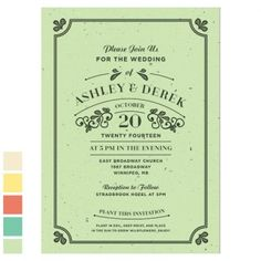 Great Rustic #Wedding Invitations. Plantable Seed Paper, #recycled