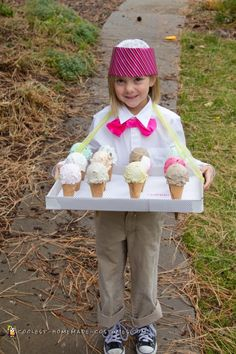 Ice Cream Peddler Costume This costume was a GIANT hit! It was easy, cheap, unique and super fun to make. I used real ice cream cones with a coat of white glue inside to strengthen Halloween Costumes Kids Homemade, Halloween Costume Contest, Diy Costumes, Halloween Kids, Halloween 2019, Costume Ideas, Diy Ice Cream, Ice Cream Party, Ice Cream Costume