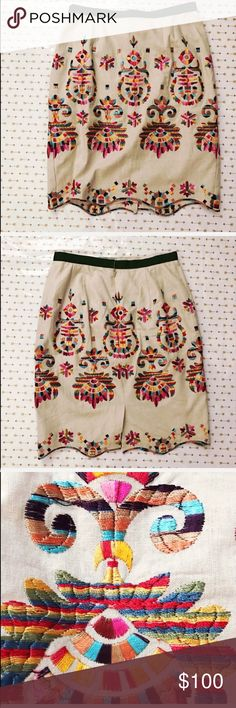 Anthropologie Skirt BEAUTIFUL embroidered skirt is brand new without tags! I purchased this from Anthropologie and lost weight before I ever got to wear it 😭😭😭😭 PAID OVER 150.00! ❌ NO TRADES/HOLDS. NWOT Anthropologie Skirts Pencil