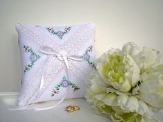 Ring Bearer Pillow Ring Pillow Wedding Vintage by TwiningVines, $35.00