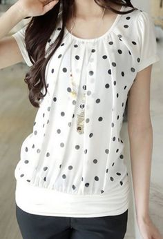 Sweet polka dot top. I am loving the look of polka dots and this top looks so comfortable and chic.