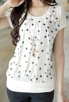 Fashionable Scoop Neck Polka Dot Short Sleeve Chiffon Splicing T-Shirt For Women