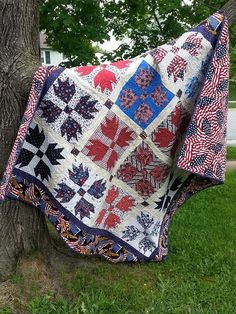 """Suzan Fie Henretty Larrimore: """"I made this for my son s graduation this year.""""                                                           Ii's a great red, white & blue!!! I believe that's a bear paw pattern."""