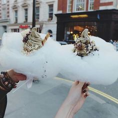Soft Serve Ice Cream on top of a Cotton Candy Cloud Milk Train, London