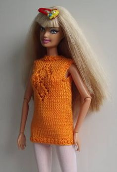 Barbie knitted top, hopefully will translate.