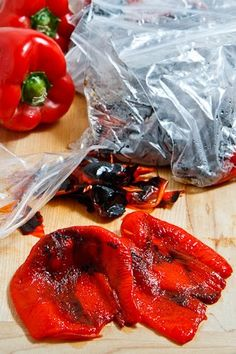 Roasted Red Peppers - do it yourself in late summer when they are cheap and plentiful, and freeze for winter. Super easy way to roast peppers. Vegetable Recipes, Vegetarian Recipes, Cooking Recipes, Healthy Recipes, Red Pepper Recipes, Roasted Red Peppers, Roasted Red Pepper Sauce, Vegetable Dishes, Food Hacks