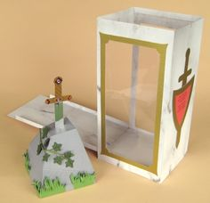 Card Craft / Card Making Templates - Sword in the Stone and Display Box. beautiful 3d templates