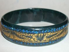 Ornate GILDED Celluloid Rhinestone Deco Vintage Sparkle Bangle Bracelet