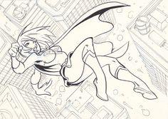Supergirl flying by NachoMon