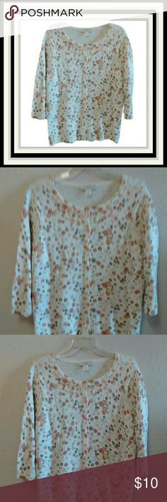 CJ Banks Button Down Sweater Size X.  Cream background with brown, orange, pink, tan, yellow, etc.   Has real buttons displayed at neckline. CJ Banks Sweaters