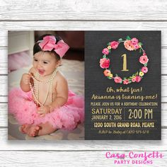 Chalkboard Gold Foil Pink First 1st Birthday Photo Invitation, Girl One Floral Wreath Invite, Printed Printable Invitation, Matching Back by CasaConfetti on Etsy https://www.etsy.com/listing/258309561/chalkboard-gold-foil-pink-first-1st