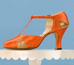 T-Strap Evening Pump      Peau de soie, metallic leather  c. 1930  Gift of Beverly Roberts  2000.958.2A/B