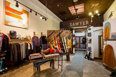 Shop: Sawyer Land + Sea. You'll head to Sawyer to outfit your modern surf safari down the California coast. The smart shop celebrates surf culture and Santa Cruz's inspiring sea-meets-forest landscape with hip graphic tees, contemporary outdoor apparel and camping gear, and luscious hand-shaped paipos (wooden Hawaiian belly boards) that could function as objets d'art. 402 Ingalls St.