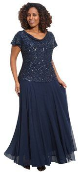 Navy Sequin Formal Mother Of The Bride Plus Size Dress