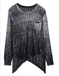 2016 fashion design hip-hop new sweater gold paint long-sleeved knitted sweater blouse bat sleeve loose Pullover hollow female