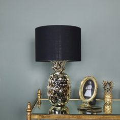 Gold Pineapple Table Lamp with Black Cotton Shade  #golddecor #decorideas #decorinspiration #homeideas #hometrends #pineapple #goldpineapple #quirky #boho #quirkydecor