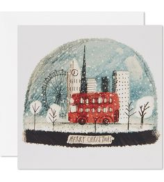 Proud of spreading the true meaning of the season while showcasing unique designs, Museums + Galleries specialise in Yuletide cheer. Lend a British twist to your greetings with this pack of 8 London snow globe Christmas cards. London Illustration, Winter Illustration, Christmas Illustration, Cute Illustration, Christmas Sketch, Watercolor Christmas Cards, Christmas Drawing, London Christmas, Christmas Mood