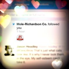 Mole Richardson just started following us on Twitter, our lighting career is now complete.
