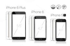 iPhone 6 Plus, 6, 5S detailed mockup by voinsveta713 on Creative Market