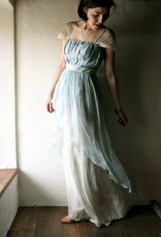 Wedding dress in light blue Naturally dyed silk chiffon - READY TO SHIP formal organic wedding gown - silk fairy dress hippie boho wedding. €570.00, via Etsy.