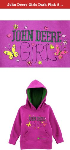 John Deere Girls Dark Pink Sweatshirt FGF241F (4). Your young lady will be stylin' and warm in this John Deere girls fashion hoodie sweatshirt. Featuring a lined hood, front patch pocket, ribbed-knit cuffs, and fashion-forward John Deere graphics of hearts and flowers, this girls John Deere hoodie sweater is the perfect choice for any John Deere girl!.