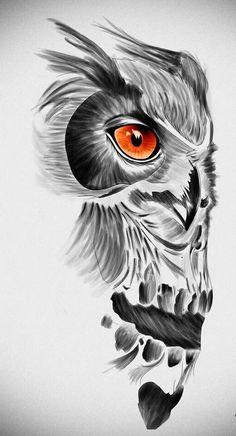 Orange-eyed owl and skull tattoo design