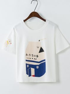 Dog Print Loose T-shirt Mobile Site