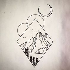 tattoo mountain geometric tattoos simple drawings meaning drawing designs easy mountains looking doodles duncan doodle instagram