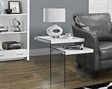 Monarch Specialties Glossy White Tempered Glass 2 Piece Nesting Table Set Glass Nesting Tables Nesting Tables Nesting End Tables