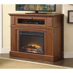 Brown Media Fireplace TV Stand Combo Space Saver - 400 Square Feet Electric Space Heater - Entertainment Center for Tele Media Fireplace, Fireplace Console, Electric Fireplace Tv Stand, Electric Fireplaces, Indoor Fireplaces, Fireplace Heater, Fake Fireplace, Fireplace Ideas, Corner Tv Stands