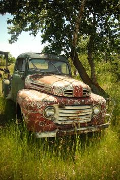 pickup in the field, interestingly battered, so like one here in England.