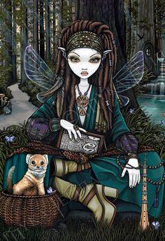 Woodland Soothsayer Forest Fairy Awen Zoti BIG Art Print by MykaJelina on Etsy https://www.etsy.com/listing/163797477/woodland-soothsayer-forest-fairy-awen