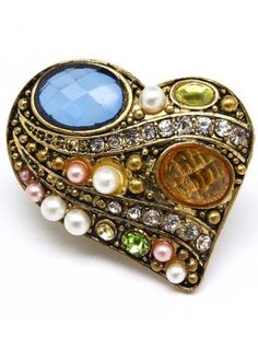 GOLD VINTAGE STYLE HEART LADIES FASHION STRETCH RING - View All Rings - Rings - Jewellery