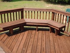 deck bench with railing