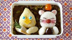 Create Eat Happy :): How to Make FINAL FANTASY Bento Lunch Box (Chocobo and Moogle)