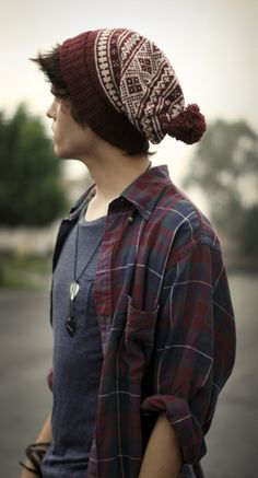 burgundy & white beanie, and matching checkered shirt over a blue-grey tee / men fashion